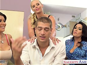 naughty babes Jessica Jaymes, Romi Rain and Phoenix Marie share hard-on