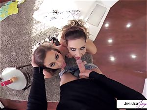 Abigail Mac and Jessica get plowed in many postures