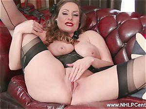 natural phat hooters dark-haired Sophia Delane jacks in nylons