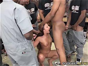 Amirah Adara deepthroats An entire squad Of ebony boys