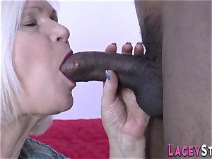 granny deepthroats big black cock