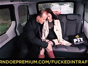 ravaged IN TRAFFIC Russian stunner fucked in the cab car