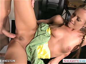 ponytailed Nicole Aniston suck pink cigar in classroom