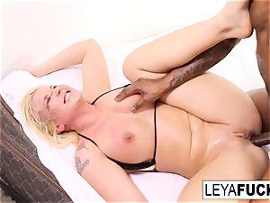 Leya gets a giant ebony lollipop in her butt