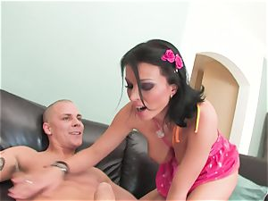 Dark haired Bailey Brooks with all-natural titties getting drilled deep