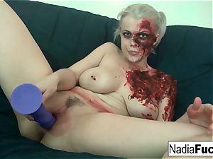 gorgeous zombie pleases the labia inbetween her legs!