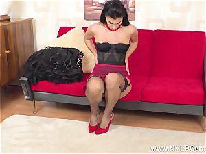 buxom dark haired jerks in sheer RHT nylons crimson heels