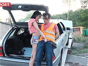 LETSDOEIT - teenager pulverizes older guy For Free Car Repair
