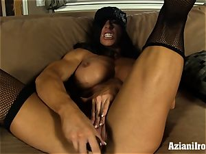Muscle trussed milf uses her glass faux-cock till she cums
