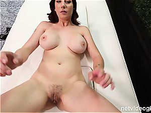 scorching ginger-haired fucked on the outside couch