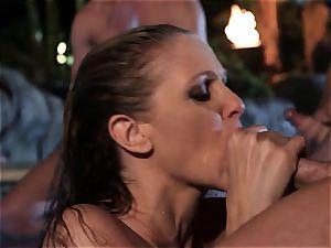 Julia Ann bj's a group of pricks in a pool