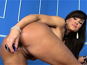 luxurious Lisa Ann tucks her faux-cock deep in her raw pussy