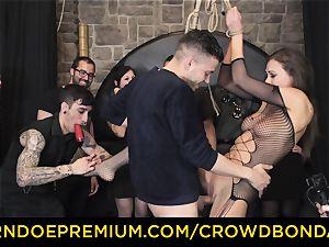 CROWD bondage - extraordinary sadism & masochism ravage wheel with Tina Kay