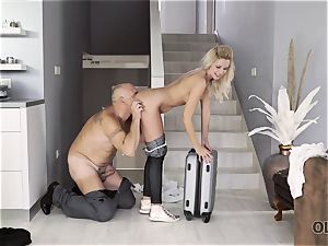 OLD4K. Winsome nubile and older lover culminate day with unbelievable fuck-fest