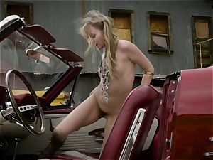 Scarlett Sage mighty solo stroking session in car