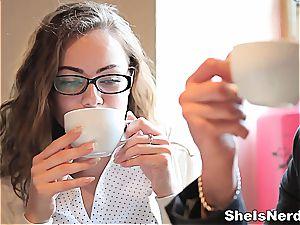 insane nerd takes a torrid blast on her specs