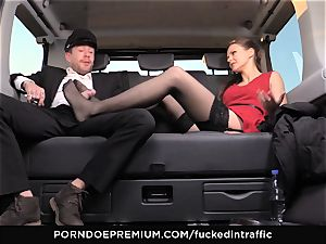 fucked IN TRAFFIC Tina Kay footjob in the backseat