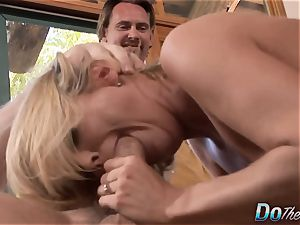 milf deep throats & pulverizes a guy While cuckold witnesses