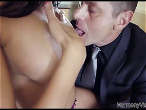 chesty dark haired stunner gets her caboose and vulva pounded firm