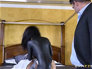 raunchy in rubber Romi Rain gets banged by trio super-steamy meatpipes