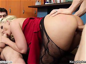 trampy teacher gets buttfucked by 2 college girls