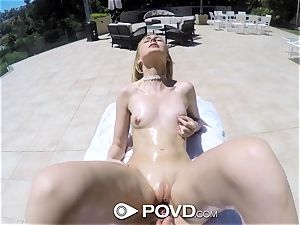 POVD Outdoor poke and facial cumshot for towheaded Alexa grace