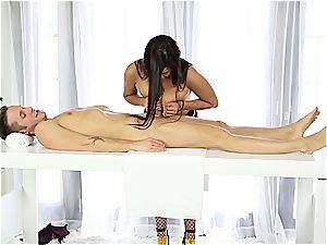 wonderful massagist jacking shy guy
