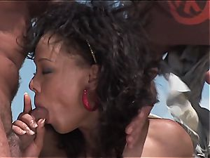 wild brazilian girl gets two boners on the beach