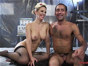 fantastic blond mistress pegging her victim