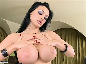 sumptuous jugged Aletta Ocean exposes her yam-sized milk cans teasing everyone's attention