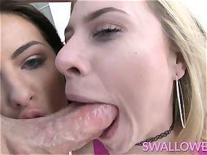guzzled Adriana and Anya gasping on a ginormous white jizz-shotgun