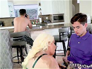 ginormous orb blonde gym bathroom Step mom s fresh penetrate plaything