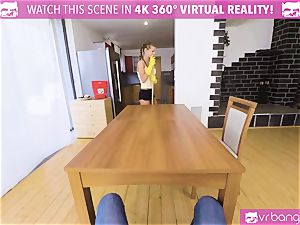 VR porno - stunning nubile housekeeper tear up for money