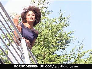 QUEST FOR climax ebony babe Luna Corazon sensual solo