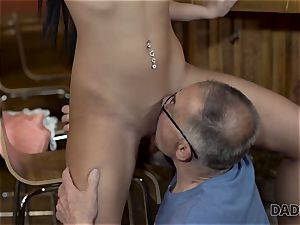 DADDY4K. Angry stud catches old parent pounding his good-looking woman