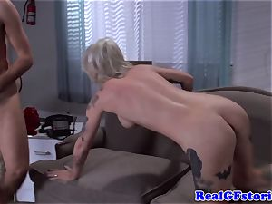 Tattood real blonde milf pounded in bum