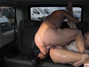 FuckedInTraffic - hot Czech stunner rockets in car plumb
