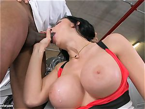 beautiful Aletta Ocean plays with a dark-hued wood in her slippery super-hot throat