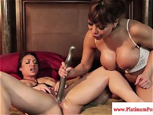 Ava Devine and Brandi May play with their sapphic toys